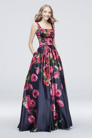 Satin Floral Printed Tank Ball Gown with Low Back