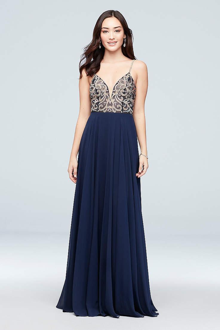 7862aa424647 Deep V-Neck and V-Neck Prom Dresses | David's Bridal