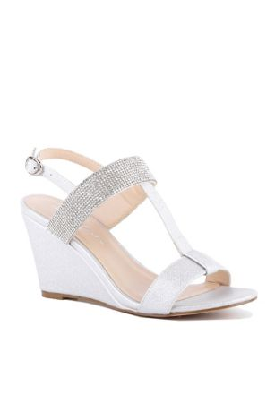 176aa32dea9 Pink Paradox Grey Ivory (Metallic Wedge Sandals with Crystal Straps)