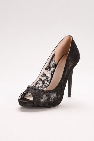 David's Bridal Black Pumps (Illusion Lace Peep-Toe Pumps)