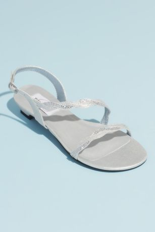 Dyeables Beige;Grey Sandals (Satin Sandals with Braided Crystal Straps)