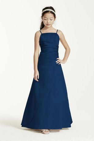 Long Satin Ball Gown with Side Ruching