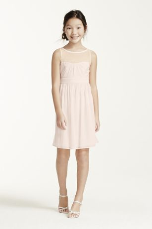 Sleeveless Short Dress With Illusion Mesh David S Bridal