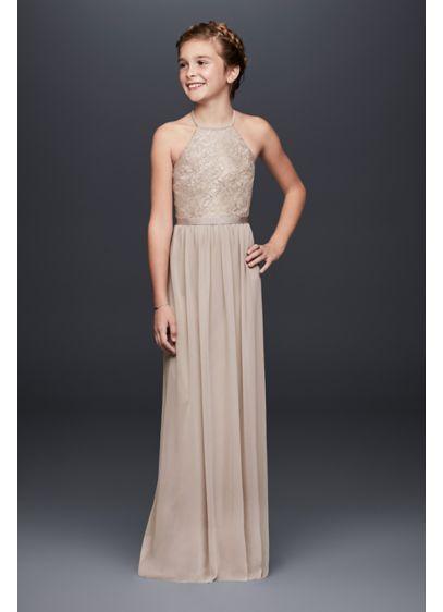top-rated real good selling uk store Keyhole Metallic Lace Mesh Junior Bridesmaid Dress | David's Bridal