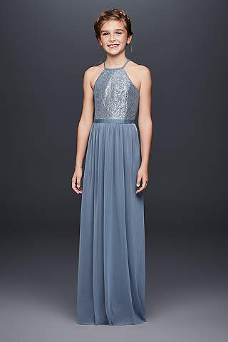 Soft Flowy Davids Bridal Long Bridesmaid Dress