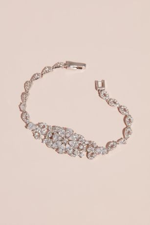 Crystal Flower Bracelet with Pave Tear Drop Links
