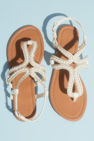 David's Bridal Beige;Ivory Flat Sandals (Pearl and Crystal Loop Strap Sandals)
