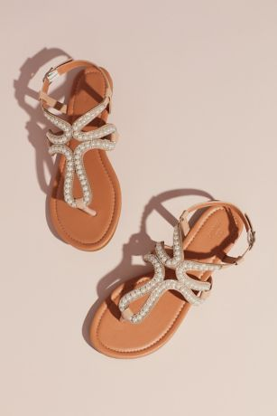David's Bridal Beige Flat Sandals (Pearl and Crystal Loop Strap Sandals)