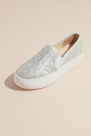 Touch Ups Grey;Ivory Sneakers and Casual (Jewel Shimmery Slip-On Sneakers with Crystals)
