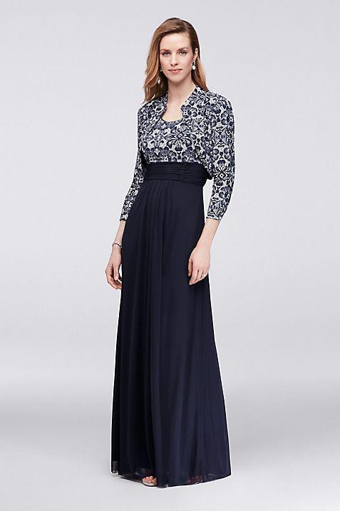 Printed Lace Bolero Jacket Dress with 3/4 Sleeves | David\'s Bridal