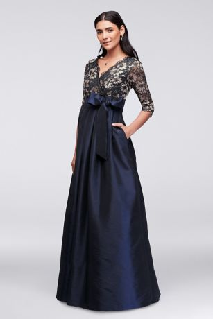 Long Ballgown 3/4 Sleeves Dress - Jessica Howard