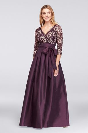 Shantung and Floral Lace Ball Gown