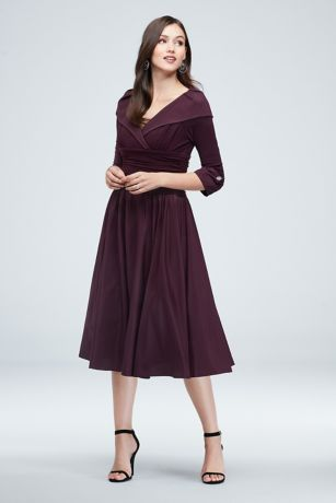 Short A-Line 3/4 Sleeves Dress - Jessica Howard