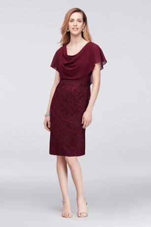 Short Sheath Capelet Dress - Jessica Howard