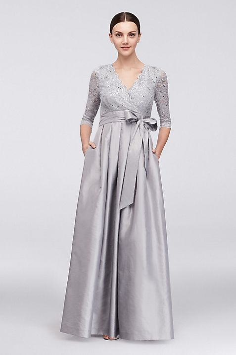 Lace and Taffeta Surplice Ball Gown | David\'s Bridal