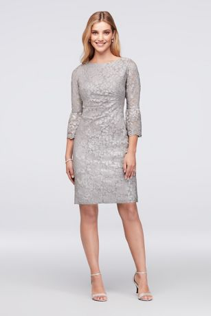 Metallic Lace Cocktail Dress with 3/4 Bell Sleeves