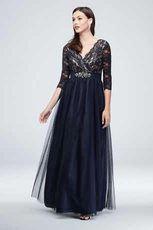 Wrap Bodice Illusion Lace Gown with Embellishment