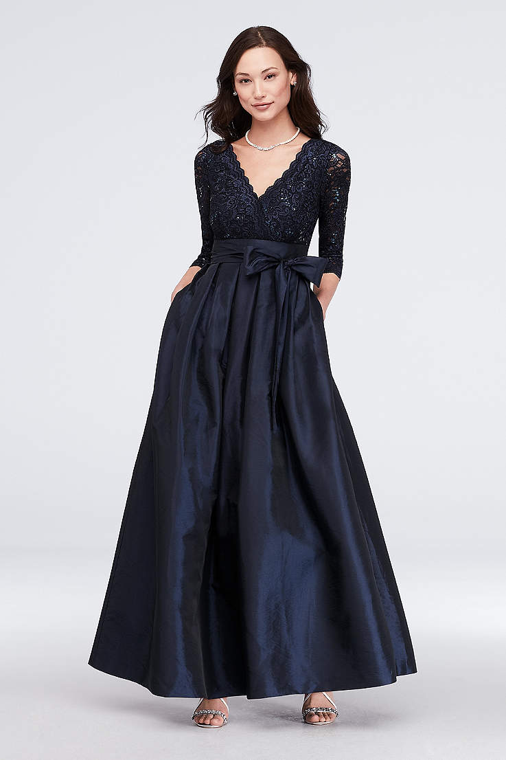 9989013cc5f48 Long Ballgown 3 4 Sleeves Dress - Jessica Howard