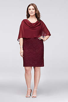 Short Sheath Capelet Cocktail and Party Dress - Jessica Howard