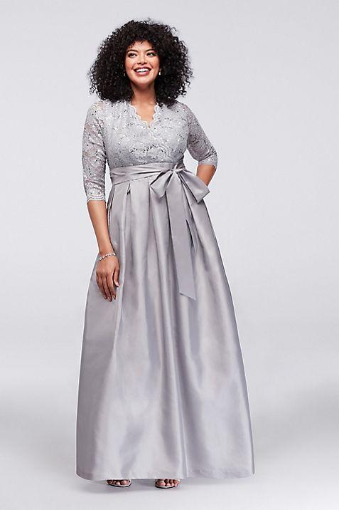 Lace and Taffeta Surplice Plus Size Ball Gown | David\'s Bridal