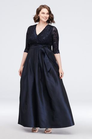 096f02c2cfb Long Ballgown 3 4 Sleeves Dress - Jessica Howard · Jessica Howard. Lace  Surplice Bodice Taffeta Plus Size Ball Gown