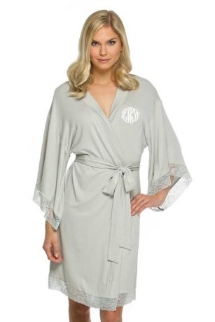 Personalized Jersey Robe with Lace