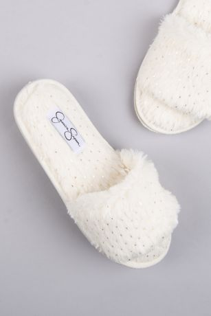 Jessica Simpson White Slippers (Jessica Simpson Dotted Fuzzy Slide Slippers)
