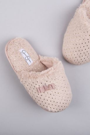 Jessica Simpson Pink Slippers (Jessica Simpson Dotted Fuzzy Slippers with Bow)