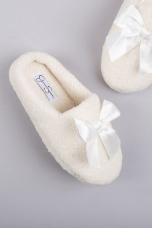 Jessica Simpson Ivory Slippers (Jessica Simpson Shearling Slippers with Satin Bow)