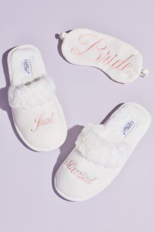 David's Bridal White Slippers (Fuzzy Just Married Slippers and Sleep Mask Set)