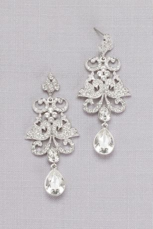 Pave Crystal Filigree Earrings