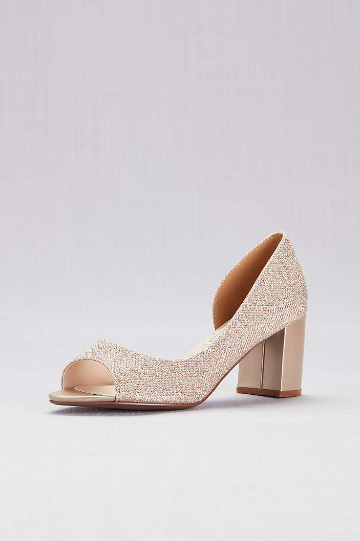 Touch Ups Grey Ivory Peep Toe Shoes (Shimmer D
