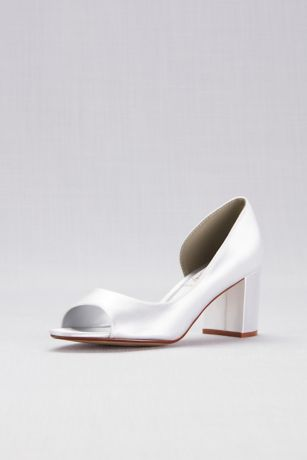 "Touch Ups White Peep Toe Shoes (Dyeable Satin D""Orsay Block Heel Peep-Toes)"
