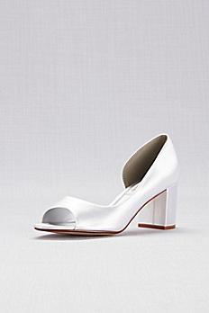 Dyeable Satin D'Orsay Block Heel Peep-Toes JOYWHITE