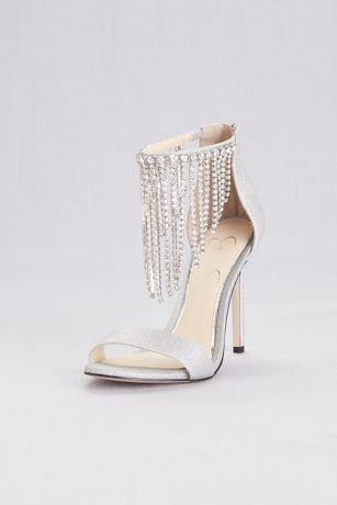 Jessica Simpson Grey Heeled Sandals (Metallic Crystal Fringe Strap Evening Sandals)