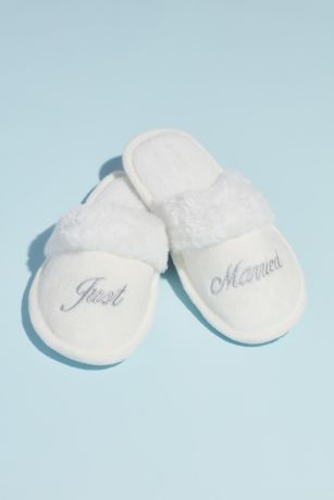 David's Bridal Grey Slippers (Fuzzy Just Married Metallic Embroidered Slippers)