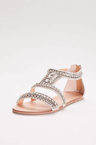 David S Bridal Grey Sandals Gem Encrusted Flat