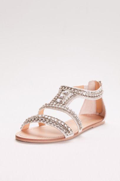 Silver Metallic Jewel Flat Sandals