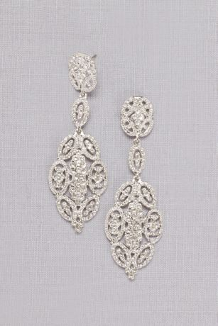 Linked Crystal Oval Earrings