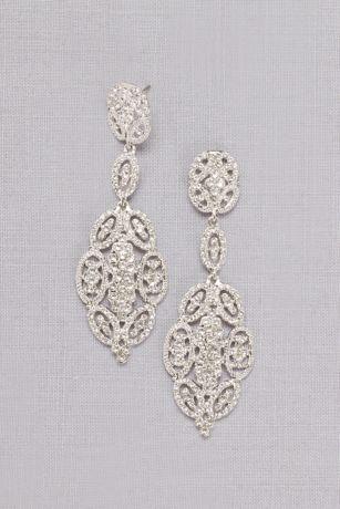 Linked Crystal Oval Earrings