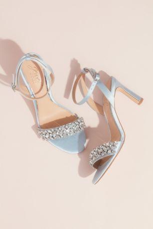 Jewel Badgley Mischka Blue Heeled Sandals (Marquise Crystal Strap Heeled Satin Sandals)