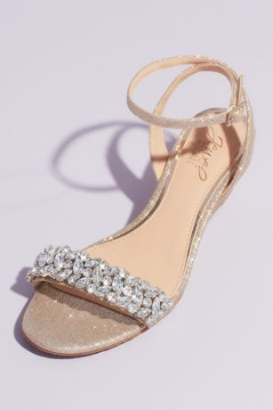 Jewel Badgley Mischka Yellow Wedges (Glittery Ankle Strap Wedge Sandal with Crystals)
