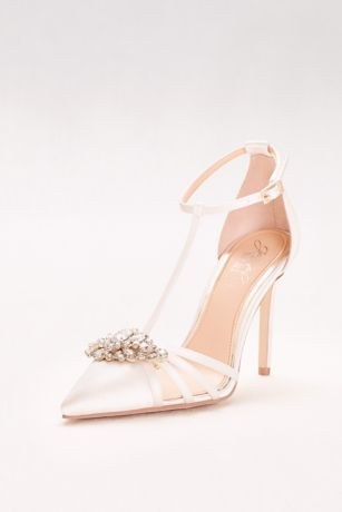 Jewel Badgley Mischka Ivory Pumps (Pointed Satin T-Strap Heels with Crystal Ornament)