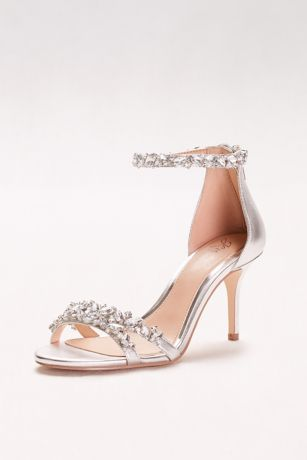 Jewel Badgley Mischka Grey Heeled Sandals (Crystal-Embellished Metallic Ankle Strap Heels)