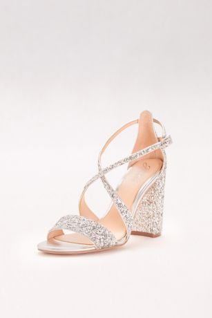 Textured Glitter Block Heel Sandals David S Bridal