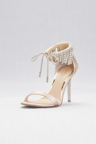 Jewel Badgley Mischka Ivory Heeled Sandals (Crystal Fringe Strap High Heel Sandals)