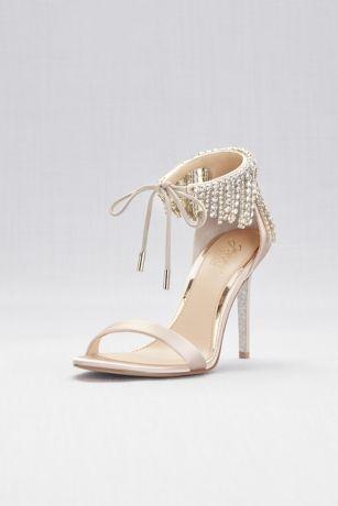 55ae4209c2dd Jewel Badgley Mischka Ivory Heeled Sandals (Crystal Fringe Strap High Heel  Sandals)