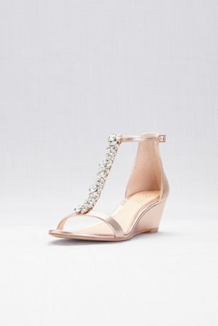 Jewel Badgley Mischka Pink Wedges (Crystal T-Strap Low Metallic Wedges)