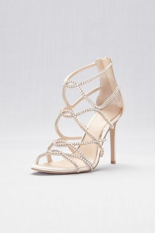 Jewel Badgley Mischka Ivory Heeled Sandals (Skinny-Strap Crystal Cage Sandals)