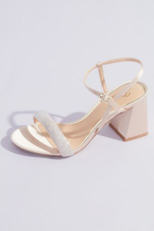 Jewel Badgley Mischka Ivory;Yellow (Metallic Chunky Block Heels with Puffed Toe Straps)
